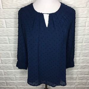 Blu Pepper Textured Blue Blouse w/ Keyhole Front